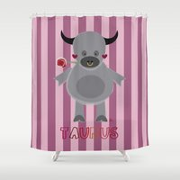 taurus Shower Curtains featuring Taurus by Esther Ilustra
