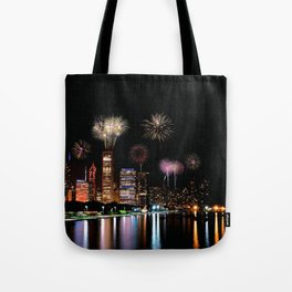 Chicago night skyline with fireworks. Tote Bag