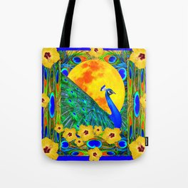 YELLOW HIBISCUS FULL GOLDEN MOON  BLUE PEACOCKS Tote Bag
