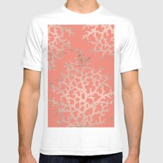 Faux rose gold coral sea hand drawn pattern salmon pattern White Mens Fitted Tee MEDIUM