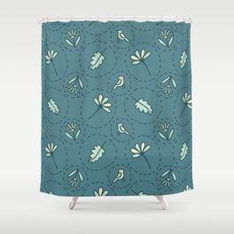 Tiny Floral Birds Dotty Seamless Pattern Shower Curtain