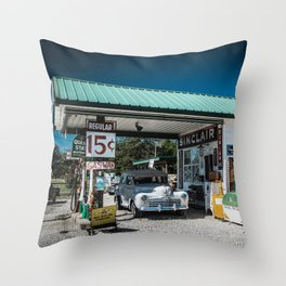 Vintage Gas Station On Route 66 in Ash Grove Missouri Throw Pillow
