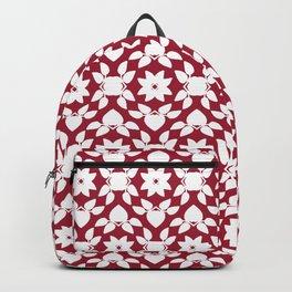 Crimson Red Flower Leaf Pattern Backpack