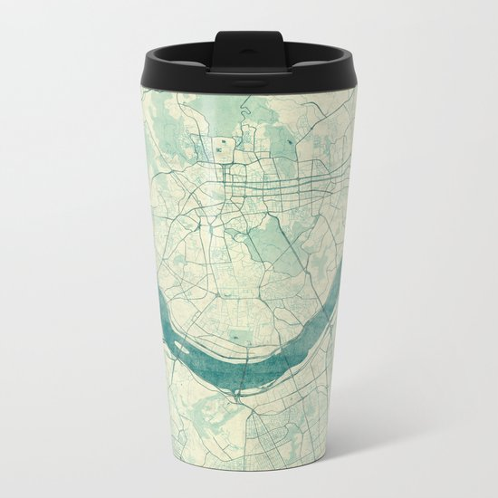 Seoul Map Blue Vintage Metal Travel Mug