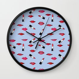 Lips and lispticks pattern in clear background Wall Clock