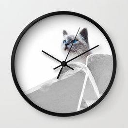 White Cat on the Roof Wall Clock