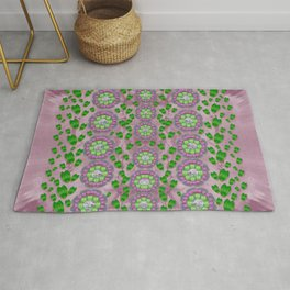 ivy and  holm-oak with fantasy meditative orchid flowers Rug