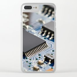 Electronic circuit board with processor Clear iPhone Case