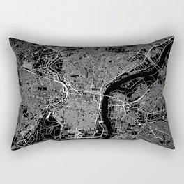 Philadelphia Black Map Rectangular Pillow