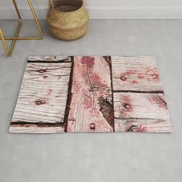 Grunge And Weathered Wooden Planks Art Style Rug