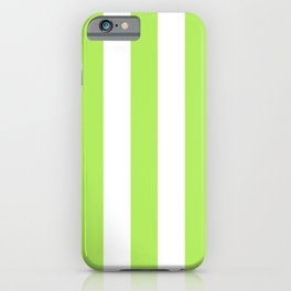 Inchworm green - solid color - white vertical lines pattern iPhone Case