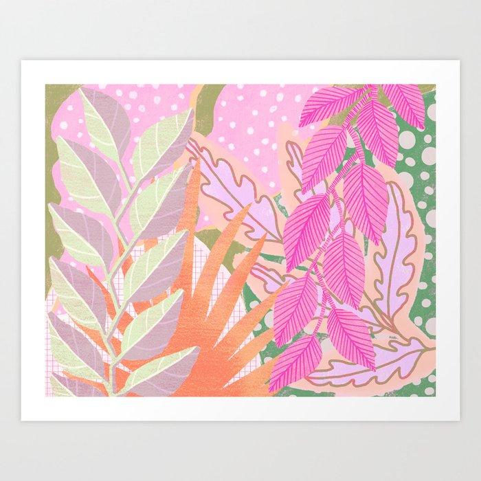 Modern Jungle Plants - Pink Green Purple Art Print