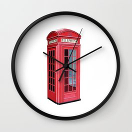 London Red Telephone Booth Wall Clock