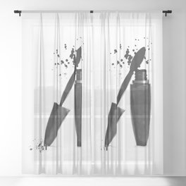 Black mascara fashion illustration Sheer Curtain