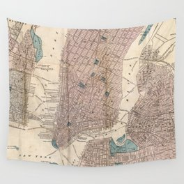 Vintage Map of New York City (1867) Wall Tapestry