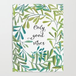 green leaves nature Poster