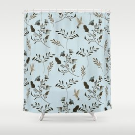 Pale Blue Bluebells and Bluebirds Floral Pattern Flowers in Blue and Bark Brown Shower Curtain