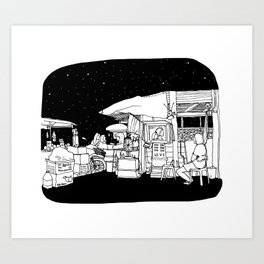 Thailand Chumpohn Night market Art Print