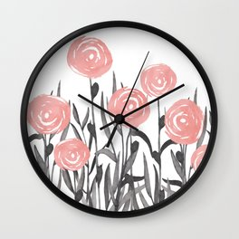 Floral Watercolor Abstract, Cute, Pink and Gray, Floral Prints Wall Clock