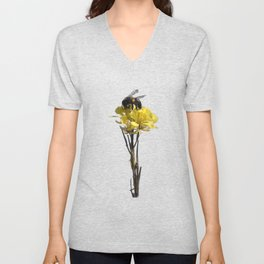 Honey bee on a wildflower Unisex V-Neck