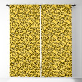 Palm leaf pattern on yellow background Blackout Curtain