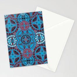 Deep Coral and Blue Mega Mandala Stationery Cards