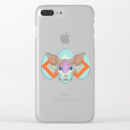 Geometric Hairless Cat Clear iPhone Case