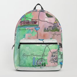 Atlanta Favorite Map with touristic Top Ten Highlights Backpack