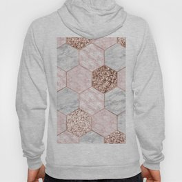 Rose gold dreaming - marble hexagons Hoody