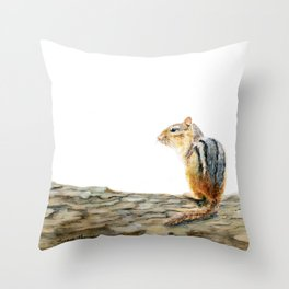 Little Chip - a painting of a Chipmunk by Teresa Thompson Throw Pillow