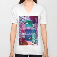 holographic V-neck T-shirts featuring bubble cats going to the taco dome by STORMYMADE