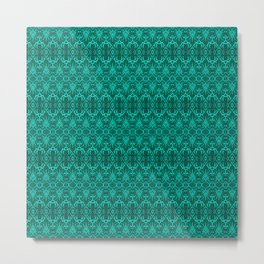 Cyan Damask Pattern Metal Print