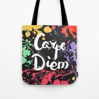 carpe diem Tote Bags featuring Carpe diem by Julia Badeeva