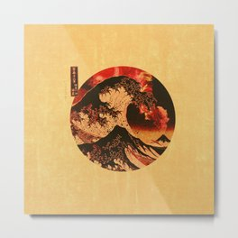 Great Wave Off Kanagawa Tan and Red Metal Print