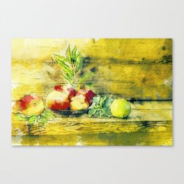 Still Life Apples In Bowl Rustic Watercolour Art Canvas Print