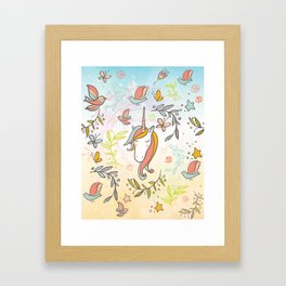 Pastel Vintage Dreams Unicorn - Illustrated unicorn with birds and butterflies Framed Art Print