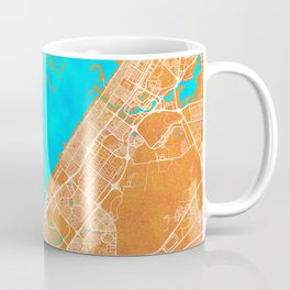 Dubai, United Arab Emirates, Gold, Blue, City, Map Coffee Mug
