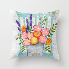 Old chair with flowers Throw Pillow