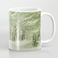 narnia Mugs featuring Winter Pine Trees by Olivia Joy StClaire