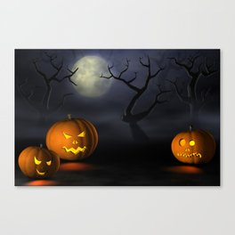 II - Halloween pumpkins in a spooky forest at night Canvas Print