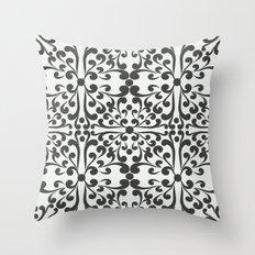Indian Decorative Motifs-Black & White Throw Pillow