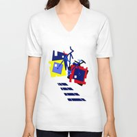 bicycles V-neck T-shirts featuring Abstract geometrical bicycles. by capricorn