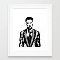 tyler durden Framed Art Prints featuring Tyler Durden by Shahbab