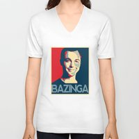 bazinga V-neck T-shirts featuring Bazinga Poster by JohnLucke
