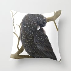 Glossy Black Cockatoo Throw Pillow