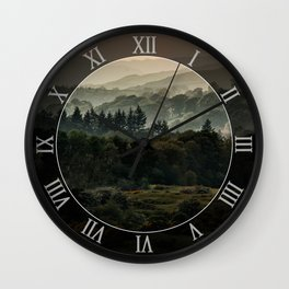Foggy morning in Lake District Wall Clock