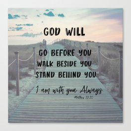I Am with you Always Bible Verse with Quote Canvas Print