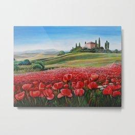 Italian Poppy Field Metal Print