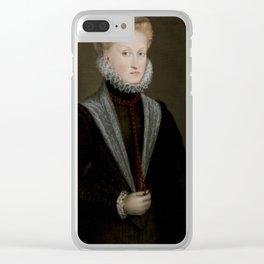 ANGUISSOLA, SOFONISBA Cremona, 1530 - Génova, 1626 Portrait of Queen Anne of Austria 1573. Clear iPhone Case
