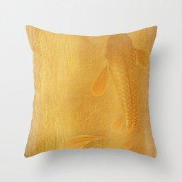 Golden Koi Throw Pillow